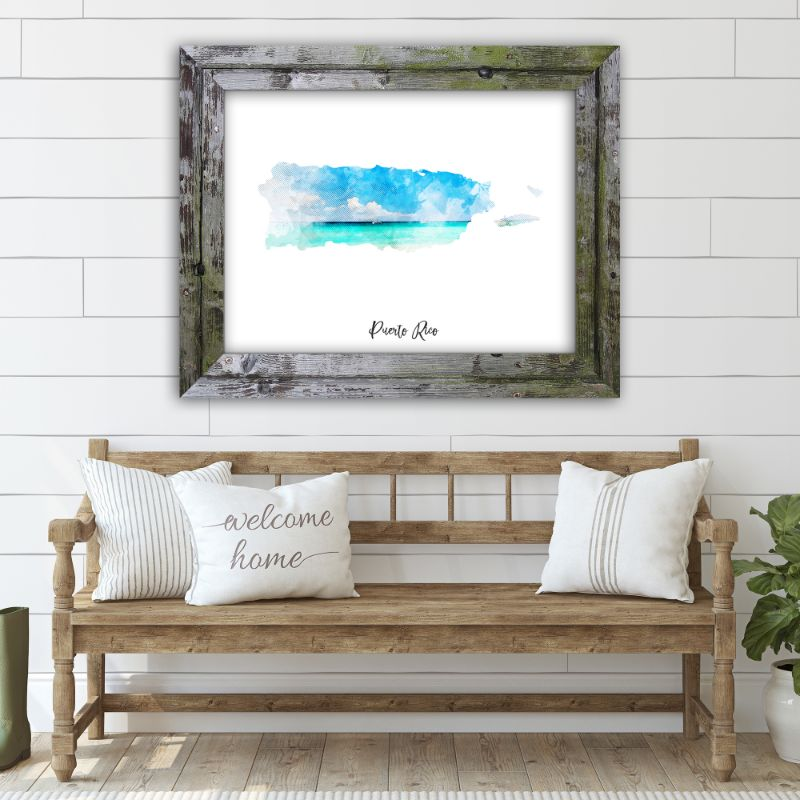 "Puerto Rico Watercolor Map Print - Unframed Art Print-16""x12""-Horizontal/Landscape-Daily Steals"