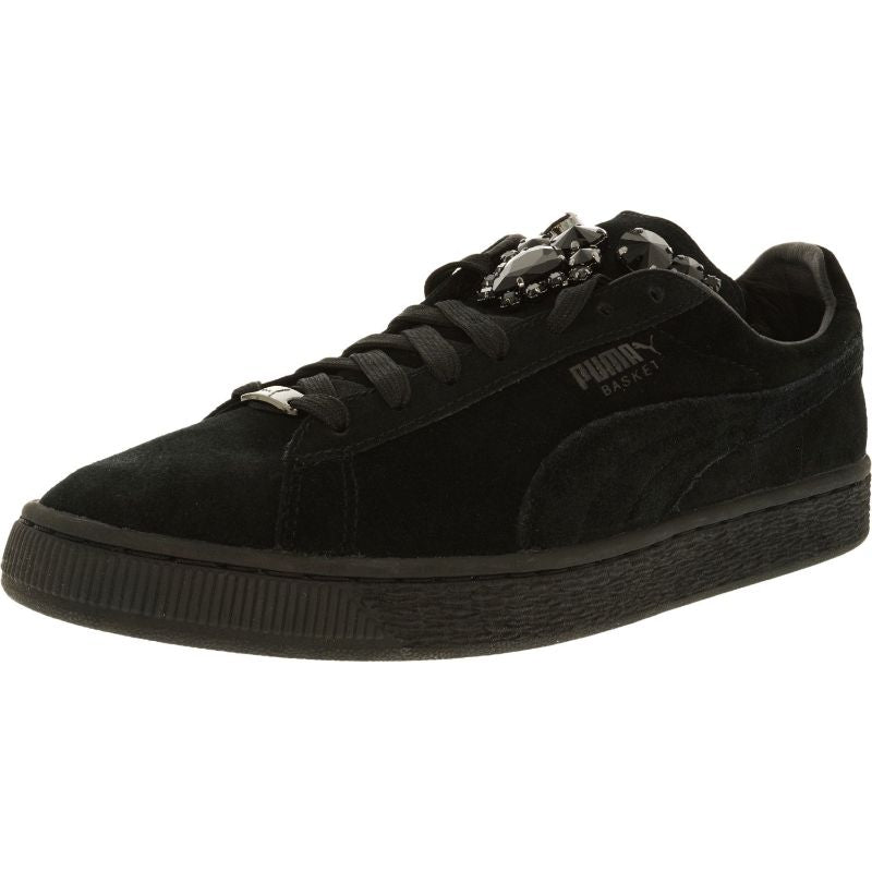Puma Women's Basket Jewels Black Ankle-High Suede Fashion Sneakers-10-Daily Steals