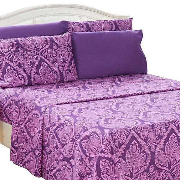Paisley Printed Deep Pocket Bed Sheet Set - 6 Piece-PURPLE-Full-Daily Steals