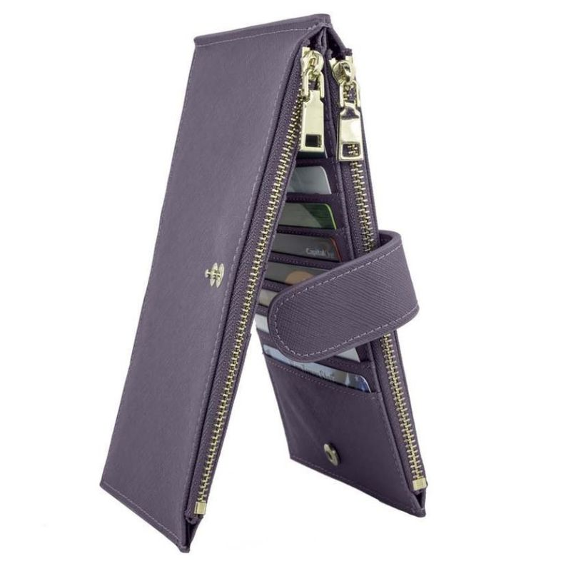 RFID Blocking Bifold Multi Card Case Wallet with Zipper Pocket-Purple-Daily Steals