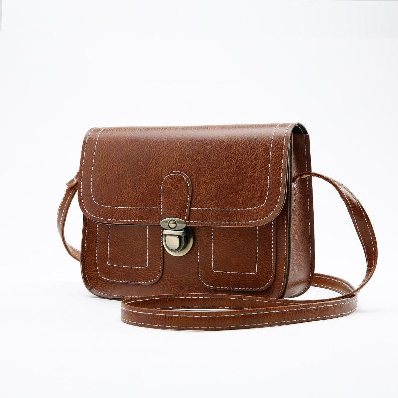Push Button Shoulder Bag-Brown-Daily Steals