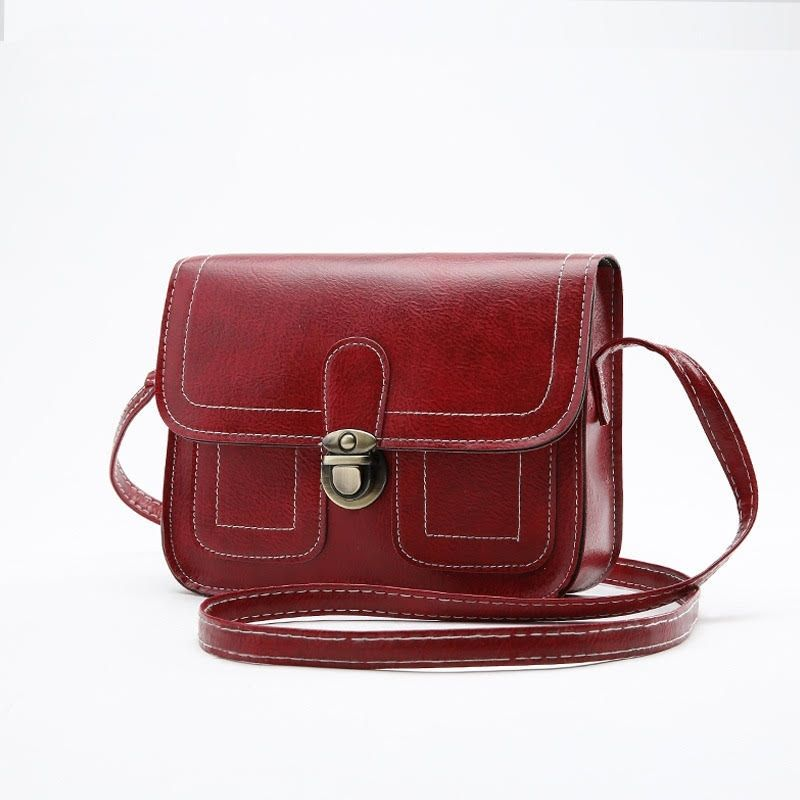 Push Button Shoulder Bag-Red-Daily Steals