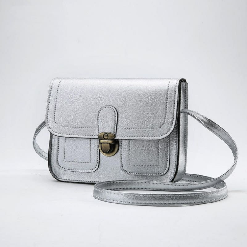 Push Button Shoulder Bag-Pewter-Daily Steals