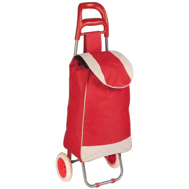 Daily Steals-Polyester Pull Behind Rolling Travel Hand Cart-Travel-Red-