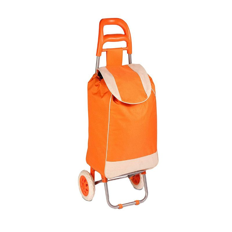 Daily Steals-Polyester Pull Behind Rolling Travel Hand Cart-Travel-Orange-