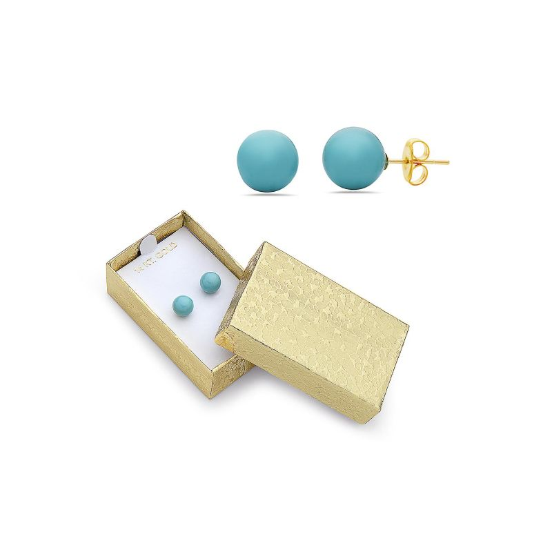 14K Gold Created Turquoise Stud Earrings-Daily Steals