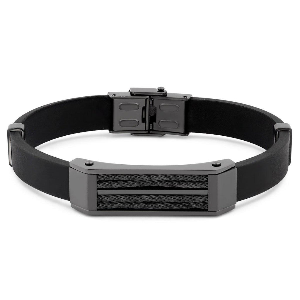 Men's Stainless Steel Wire Bracelet-Black-Daily Steals