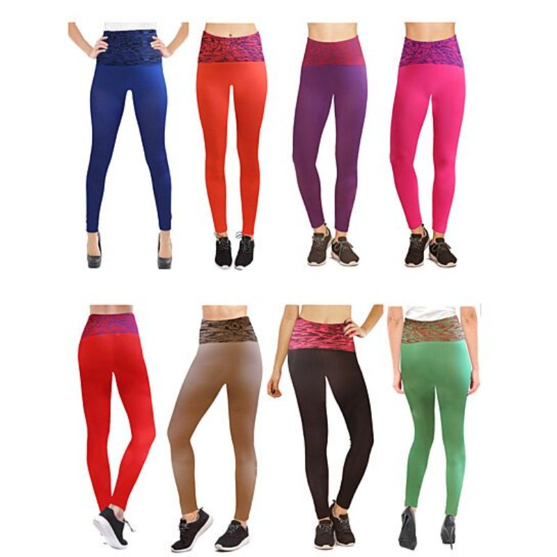 Women's Ultra-Soft Two-Tone Ribbed High Waisted Leggings - 5 Pack