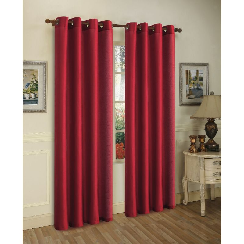 Set of Two Stylish Curtain Panels with Rod Grommets: 58 x 84 Inches-Burgundy-Daily Steals