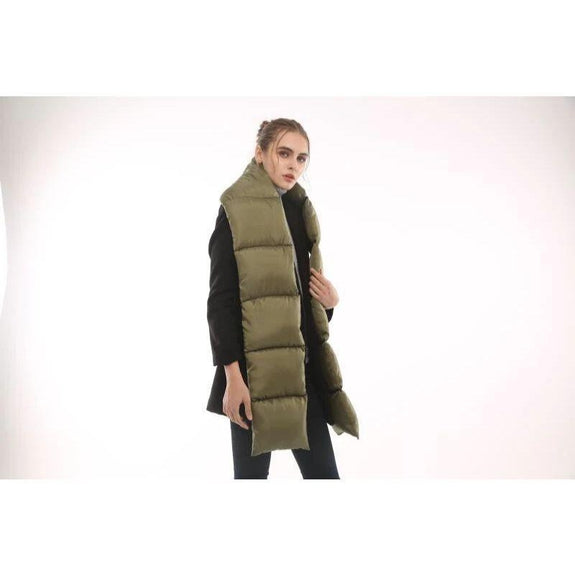 Quilted Nylon Puffer Scarf-Green-Daily Steals