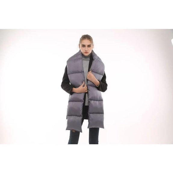 Quilted Nylon Puffer Scarf-Grey-Daily Steals