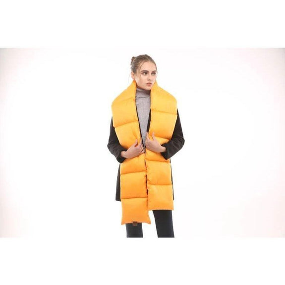 Quilted Nylon Puffer Scarf-Yellow-Daily Steals