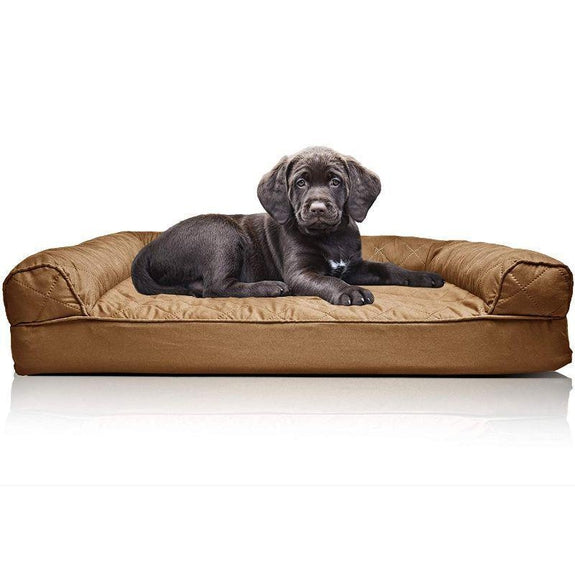 Quilted Sofa-Style Orthopedic Foam Pet Dog Bed-Toasted Brown-S-