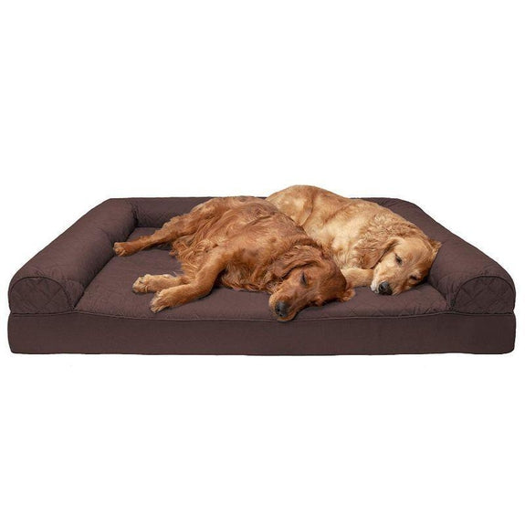 Quilted Sofa-Style Orthopedic Foam Pet Dog Bed-Coffee-Jumbo Plus-