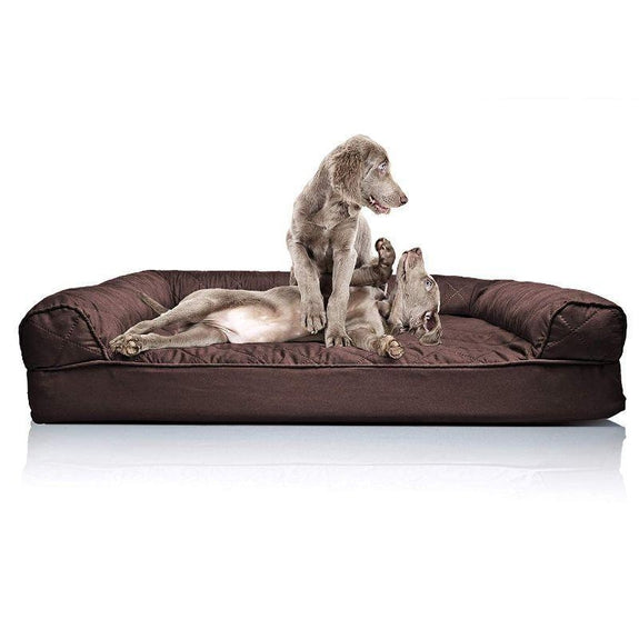 Quilted Sofa-Style Orthopedic Foam Pet Dog Bed-Coffee-Jumbo-