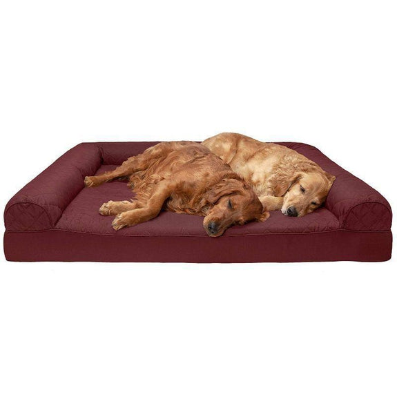 Quilted Sofa-Style Orthopedic Foam Pet Dog Bed-Wine Red-Jumbo Plus-