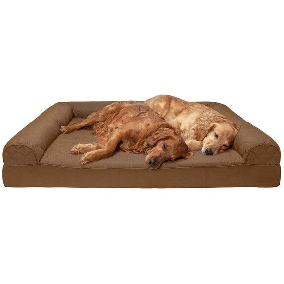 Quilted Sofa-Style Orthopedic Foam Pet Dog Bed-Toasted Brown-Jumbo Plus-