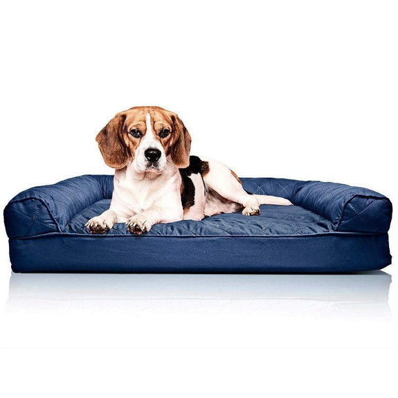 Quilted Sofa-Style Orthopedic Foam Pet Dog Bed-Navy-M-