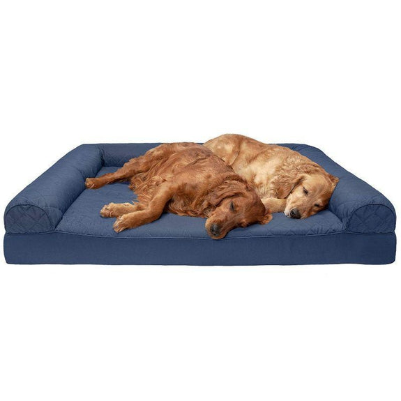 Quilted Sofa-Style Orthopedic Foam Pet Dog Bed-Navy-Jumbo Plus-