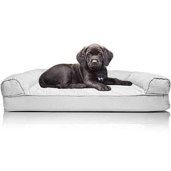 Quilted Sofa-Style Orthopedic Foam Pet Dog Bed-Silver Gray-S-