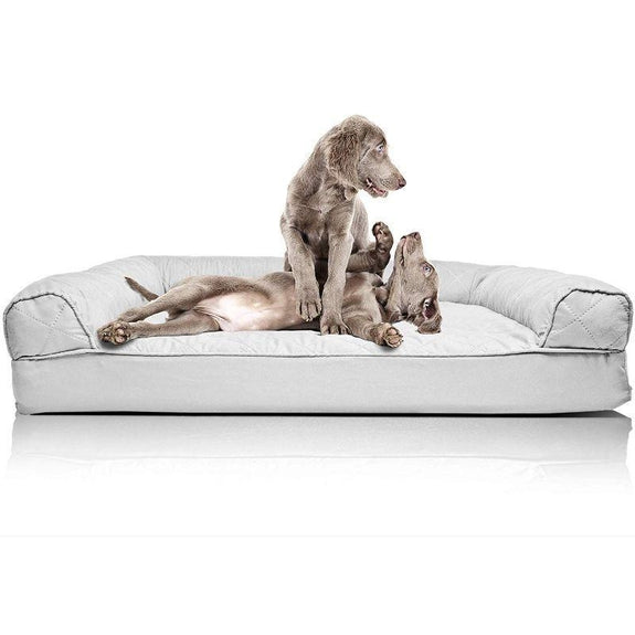 Quilted Sofa-Style Orthopedic Foam Pet Dog Bed-Silver Gray-Jumbo-