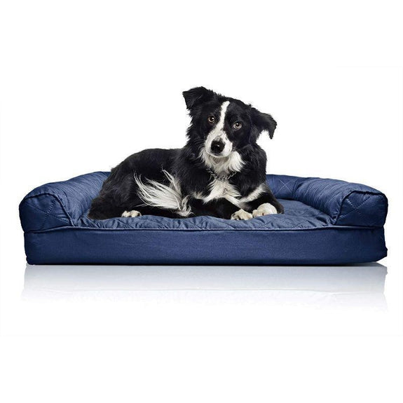 Quilted Sofa-Style Orthopedic Foam Pet Dog Bed-Navy-L-