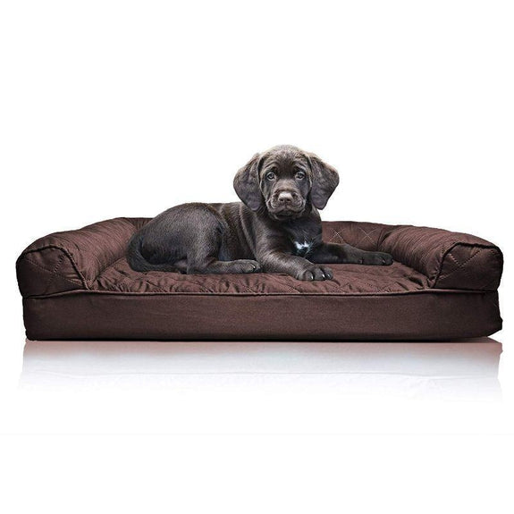 Quilted Sofa-Style Orthopedic Foam Pet Dog Bed-Coffee-S-