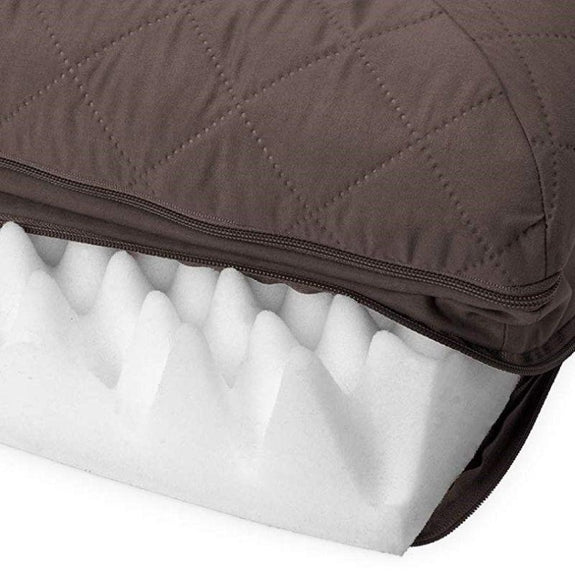 Quilted Sofa-Style Orthopedic Foam Pet Dog Bed-Coffee-M-