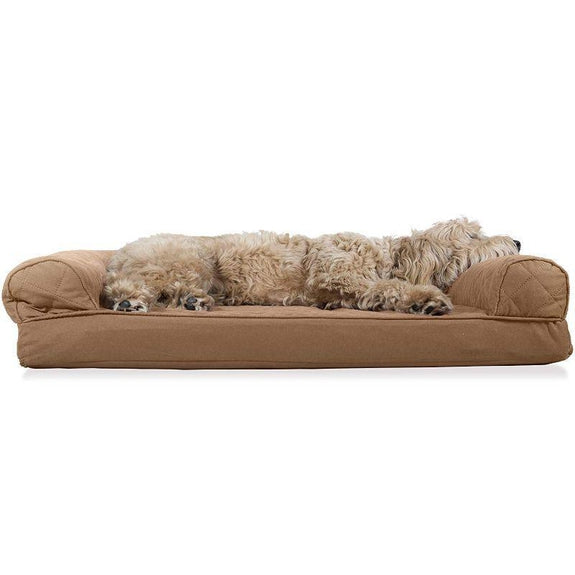 Quilted Sofa-Style Orthopedic Foam Pet Dog Bed-Toasted Brown-L-