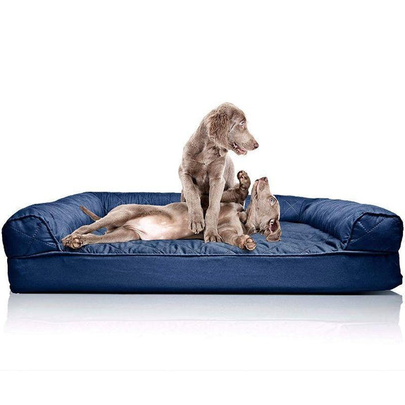 Quilted Sofa-Style Orthopedic Foam Pet Dog Bed-Navy-Jumbo-