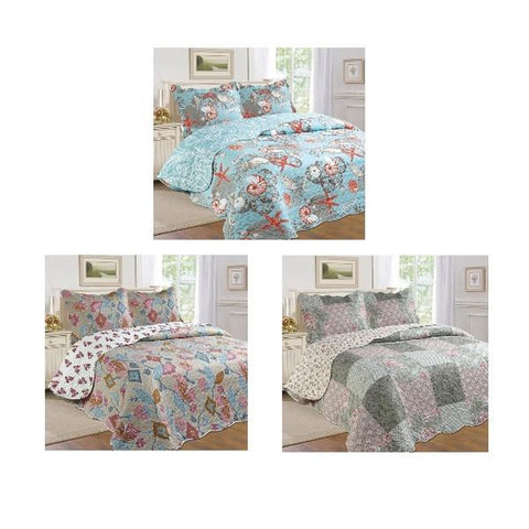 Printed 3-Piece Quilt Set-Daily Steals