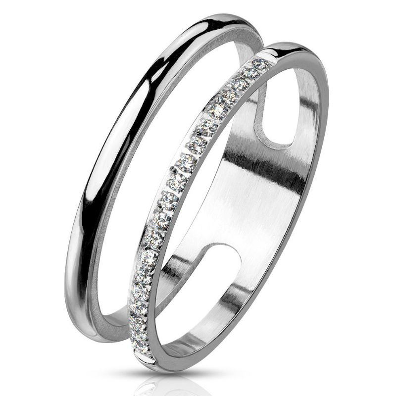 CZ Paved Line Double Stainless Steel Ring-6-Daily Steals