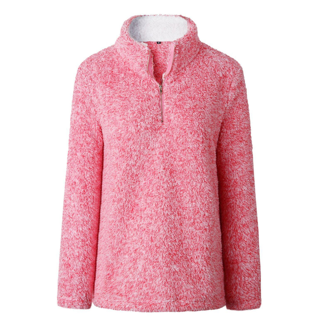 Zip Up Top Fleece Pullover-Pink-Large-Daily Steals