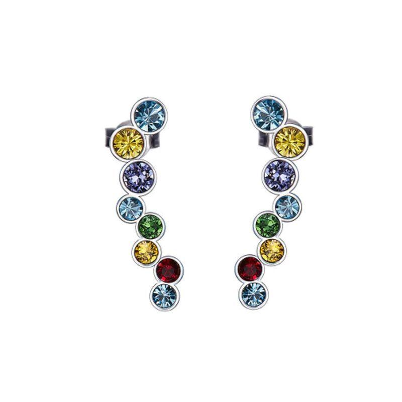 Rainbow Bubble Stud in 18K White Gold Filled with Swarovski Crystals-Daily Steals