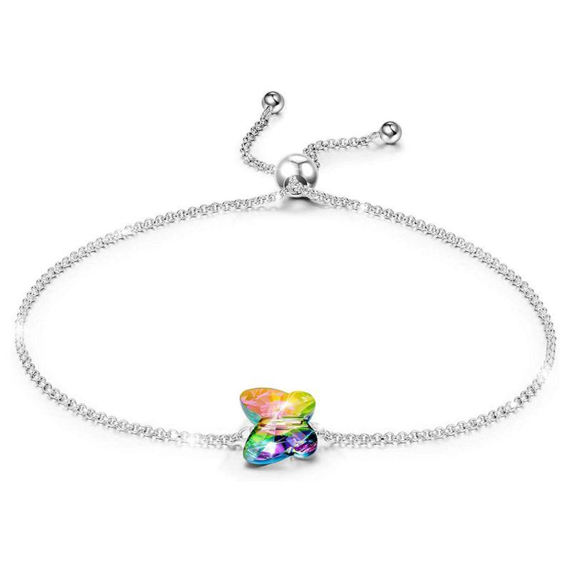 Rainbow Butterfly Bracelet in 18K White Gold Filled with Swarovski Crystals-Daily Steals