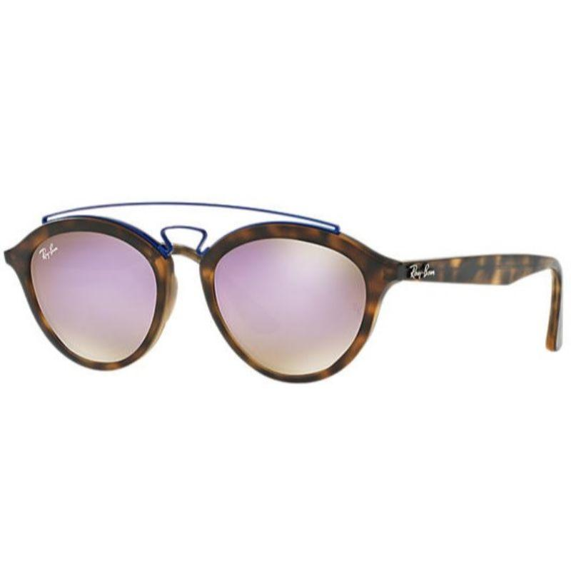 Ray Ban RB4257 6266/B0 Gatsby II 53 Tortoise Brown Lilac Mirror Sunglasses-Daily Steals