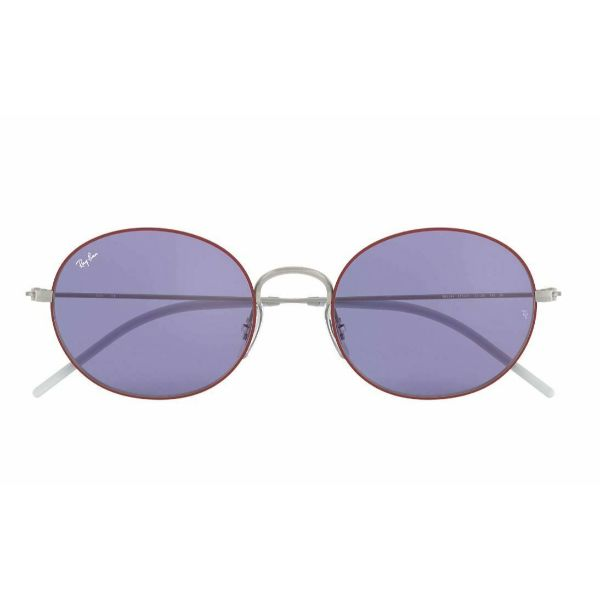 Ray Ban RB3594-9112D1-53 Beat Oval Silver/Dark Violet Lens Sunglasses-Daily Steals