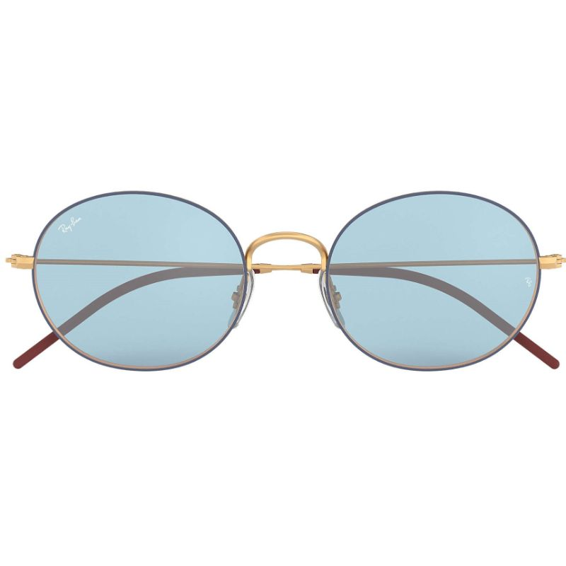 Ray Ban RB3594-9113F7-53 Beat Oval Blue/Gold-Tone Sunglasses-Daily Steals