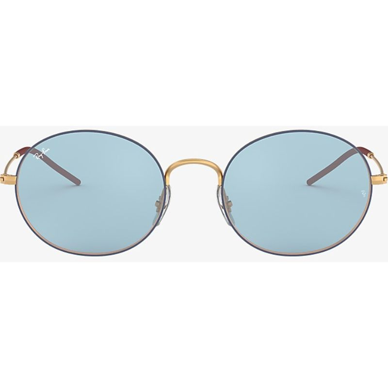 Ray Ban RB3594-9113F7-53 Beat Oval Blue / Gold-Tone Sunglasses-Daily Steals