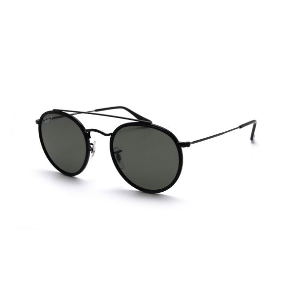 Ray-Ban Sunglasses RB3647N 002/58 Round Double Bridge Black Green Polarized-Daily Steals