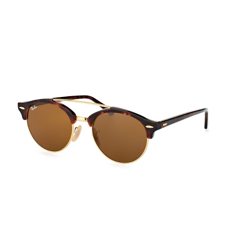 Ray Ban RB4346-990/33-51 Round Brown Clubround Double Bridge Sunalasses-Daily Steals