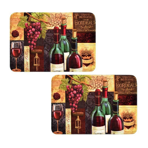 Comfort Chef Anti-Fatigue Premium Kitchen Mat-Wine Mat Wine Cellar - 2 Pack-Daily Steals