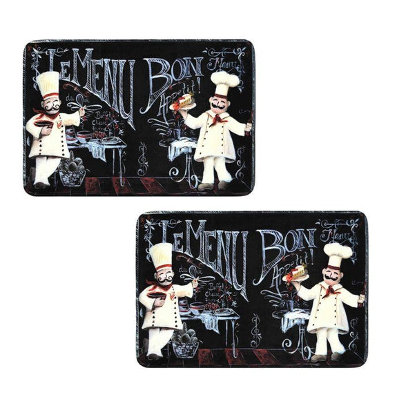 Comfort Chef Anti-Fatigue Premium Kitchen Mat-Chalkboard Chefs - 2 Pack-Daily Steals
