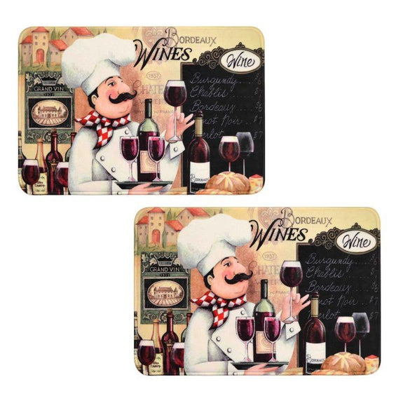 Comfort Chef Anti-Fatigue Premium Kitchen Mat-Vino Chefs - 2 Pack-Daily Steals