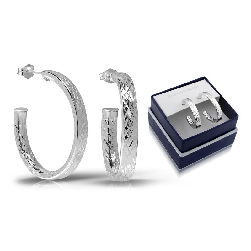 Sterling Silver Fancy Diamond Cut Oval Half Hoop Earrings with Gift Box-Daily Steals