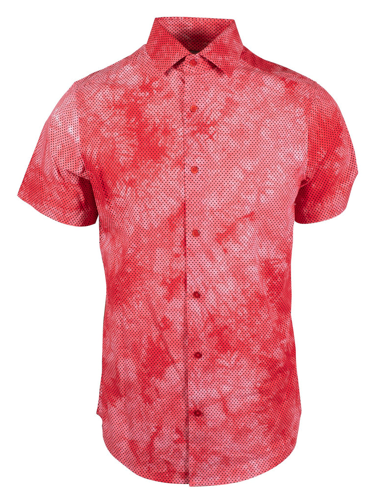 Daily Steals-Suslo Couture Men's Slim Fit Casual Printed Short Sleeve Button Down Shirt-Men's Apparel-Red & Polka-Dot Red-S-