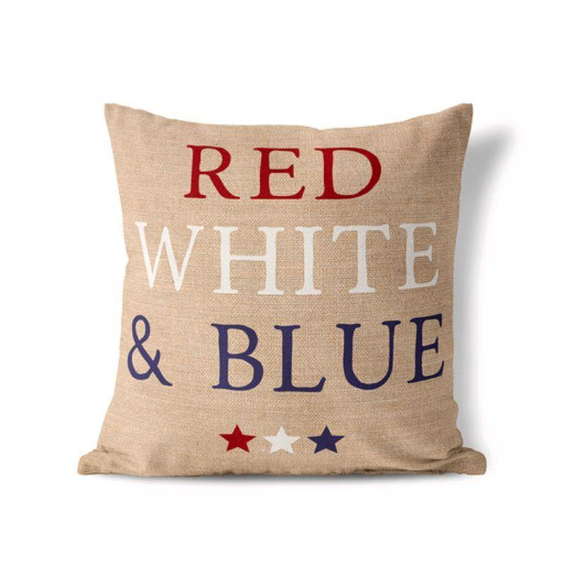 Red White and Blue - American Fourth of July Patriotic Pillow Cover-