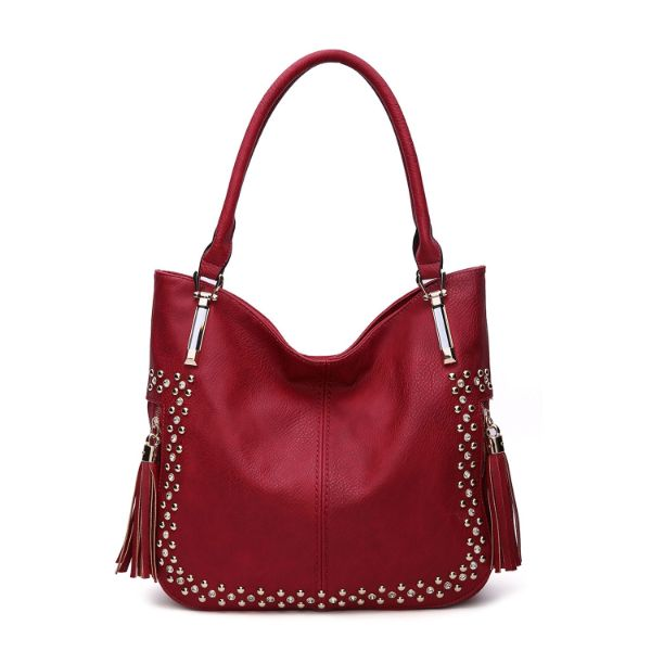 MKF Collection Betsy Shoulder Bag by Mia K. Farrow-Red-Studded-Daily Steals