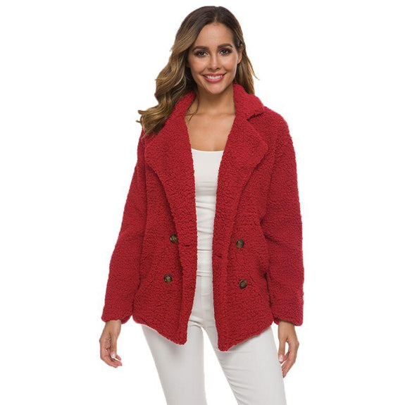 Soft Comfy Plush Pea Coat-Red-Large-Daily Steals