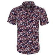 Suslo Couture Men's Slim Fit Designable Printed Short Sleeve Button Down Shirt-Red & Red Chains-M-Daily Steals